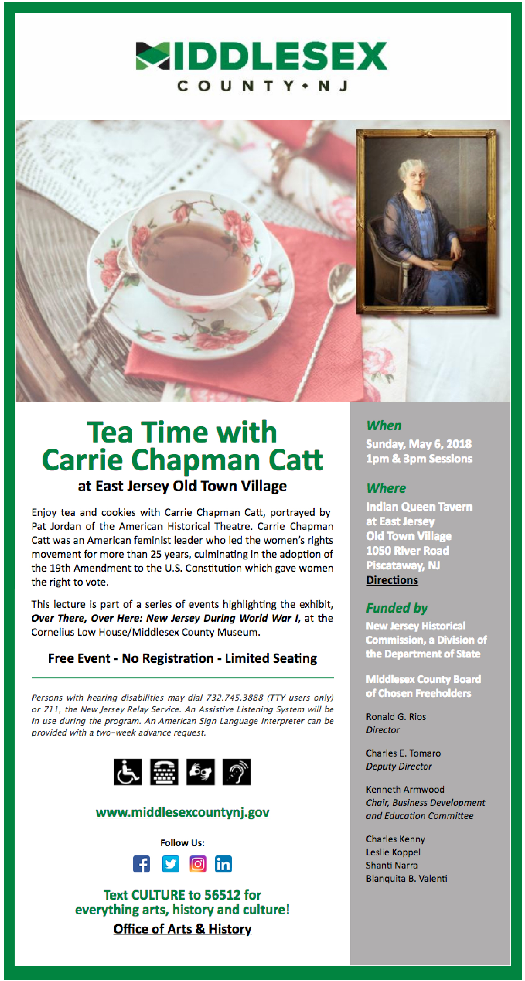 Tea Time with Carrie Chapman Catt CC