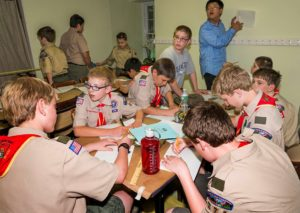 Boy Scout Troop #276 from Byram and Troop #86 working on merit badges at Macculloch Hall. Photo credit: Stan Freeny.